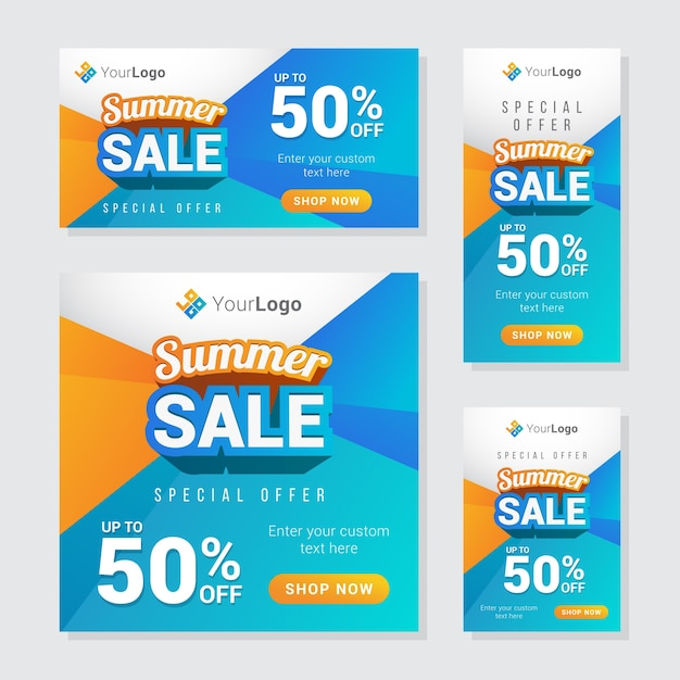 Moderne zomer verkoop banner Premium Vector