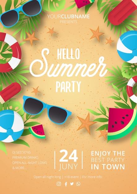 Moderne zomerfeest poster Gratis Vector