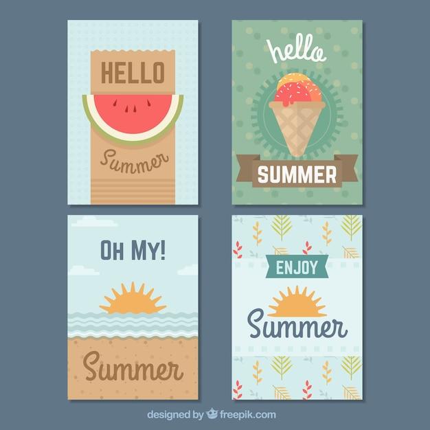 Moderne zomerkaartcollectie van vier Gratis Vector