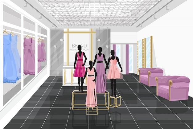 Modewinkel met jurken Premium Vector