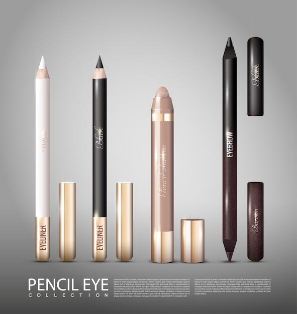 Modieuze cosmetische producten voor ogen ingesteld Gratis Vector