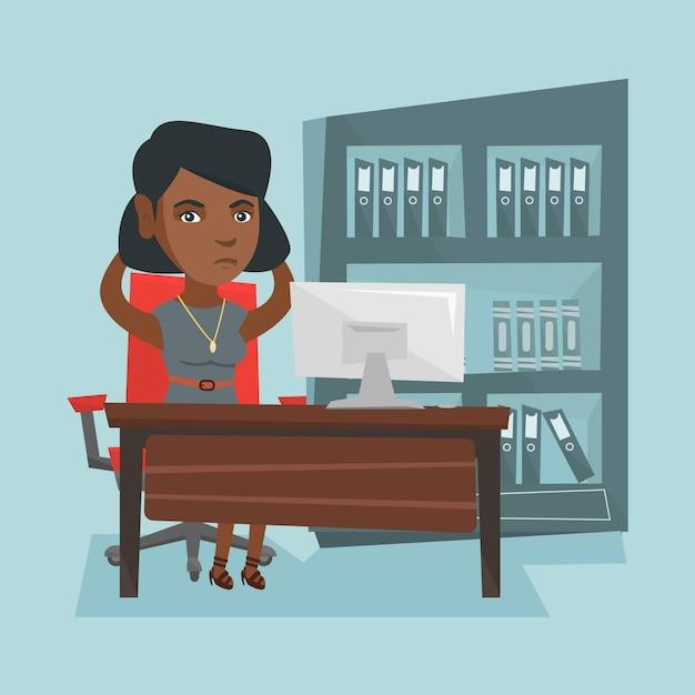 Moe afro-amerikaanse kantoormedewerker geklemd hoofd Premium Vector