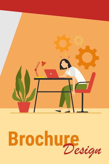 Moe uitgeput vrouw die op laptop werkt en burn-out voelt. vector illustratie voor overbelasting, overwerk, vermoeidheid concept. Gratis Vector