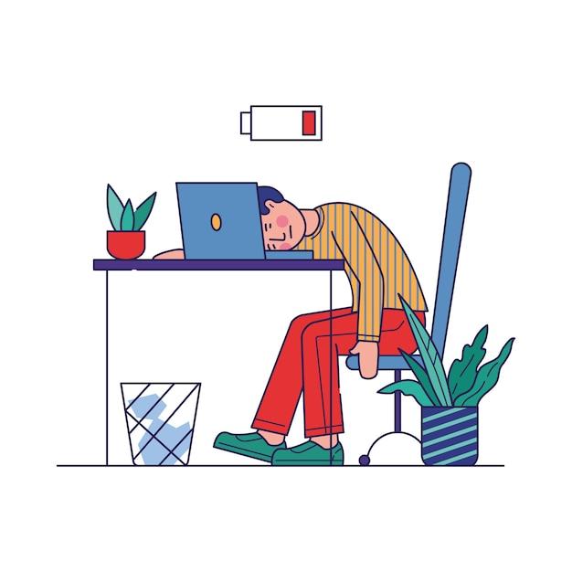 Moe werknemer uitgeput van het werk Gratis Vector