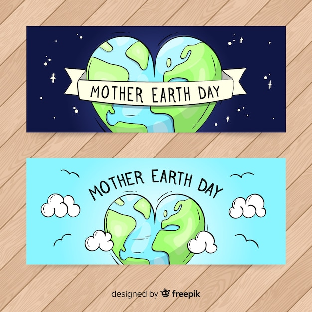 Moeder aarde dag banners Gratis Vector