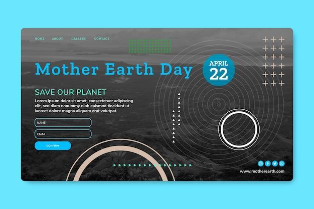 Moeder aarde dag bestemmingspagina sjabloon Gratis Vector