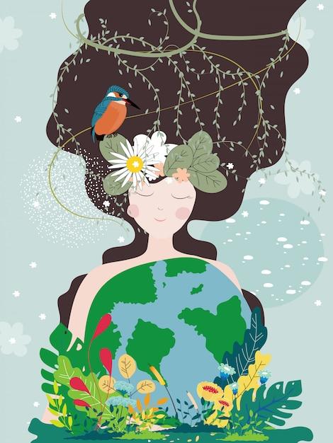 Moeder aarde dag poster met planeet en natuur schoonheid vrouw Premium Vector