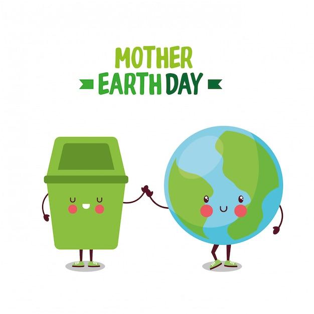Moeder aarde planeet dag. Premium Vector