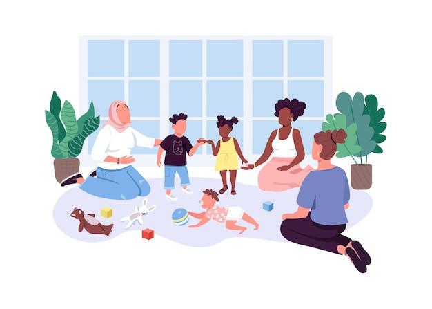 Moeder-baby groep egale kleur anonieme karakters. moeders brengen tijd door met hun kinderen Premium Vector