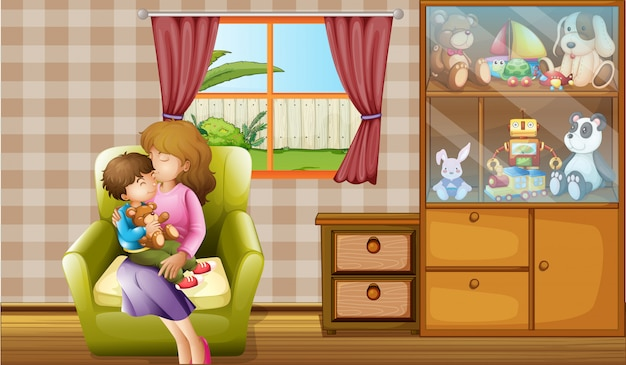 Moeder die haar zoon in het huis kust Gratis Vector