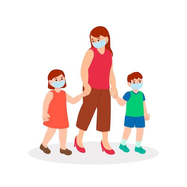 Moeder die met haar kinderen loopt Gratis Vector