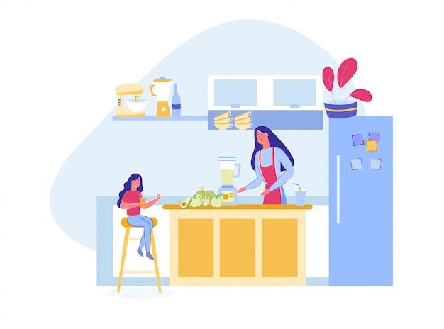Moeder en dochter bereiden vegetarische smoothie. Premium Vector