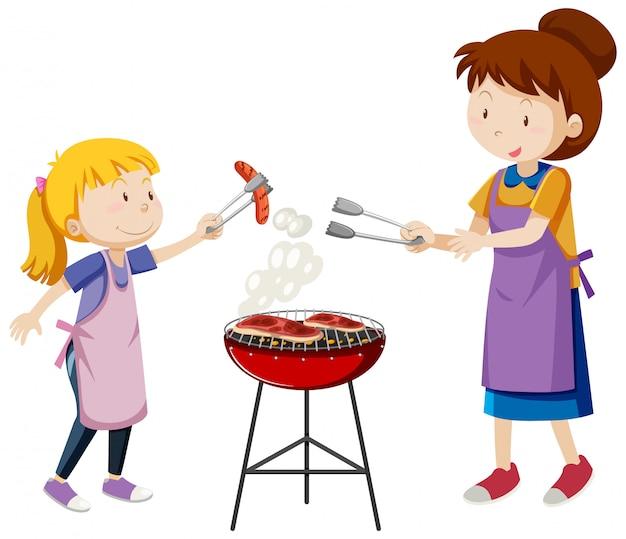 Moeder en dochter cartoon stijl geïsoleerd op een witte achtergrond Gratis Vector