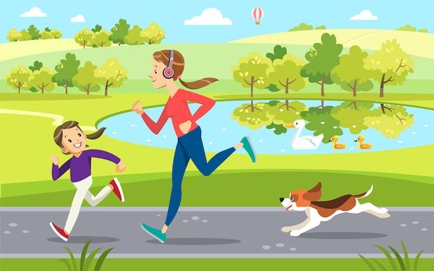 Moeder en dochter joggen met schattige hond in het park, langs het meer. moederschap opvoeding. Premium Vector