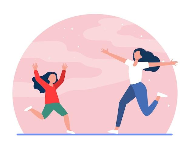 Moeder en dochtertje rennen naar elkaar toe met open armen. moeder, meisje, kind platte vectorillustratie. ouderschap, jeugd, ouderschap Gratis Vector