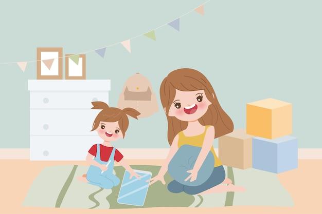 Moeder en kind blijven thuis. Premium Vector