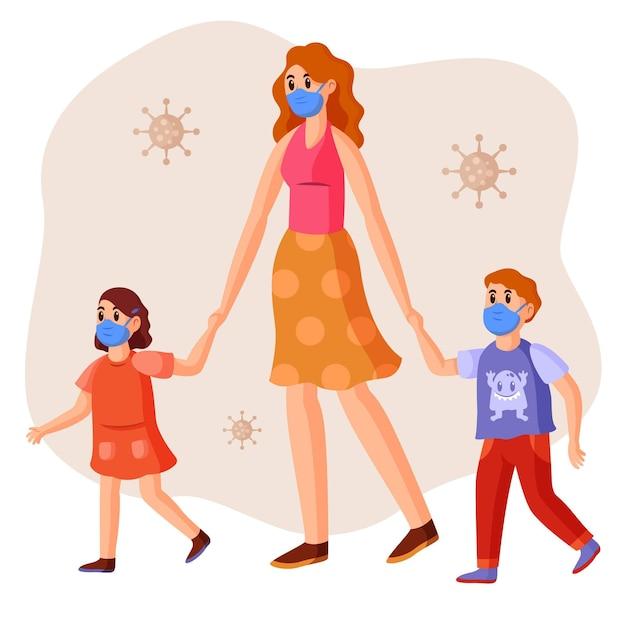 Moeder en kinderen dragen van medische maskers buitenshuis Gratis Vector