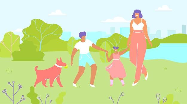 Moeder en kinderen walking dog in park cartoon Premium Vector