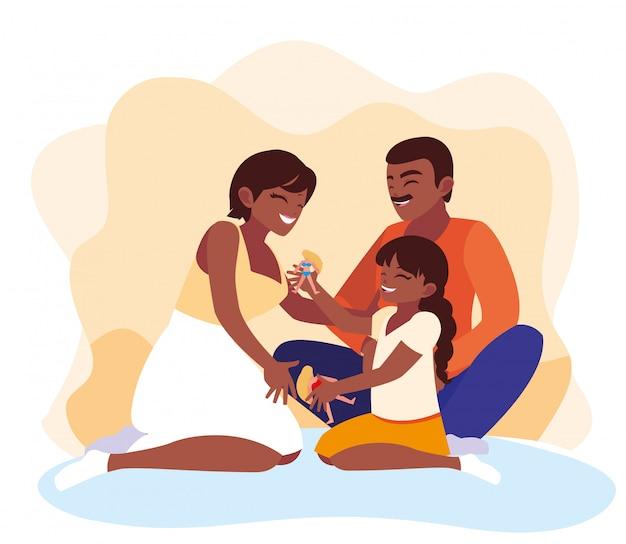 Moeder en vader met dochter spelen Premium Vector