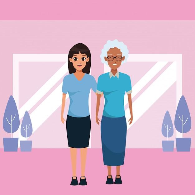 Moeder en volwassen dochter samen cartoon Gratis Vector