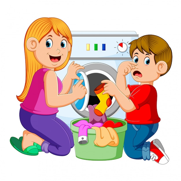 Moeder en zoon die wasserij doen Premium Vector