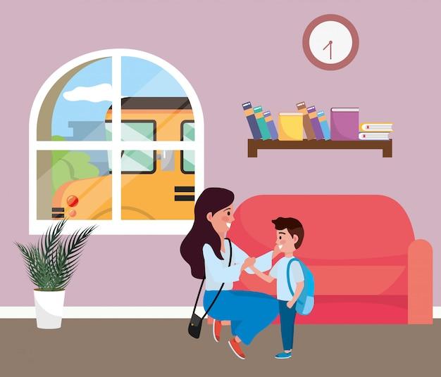 Moeder en zoon gaan naar school Gratis Vector