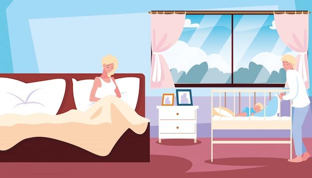 Moeder in bed en baby in wieg met papa in de kamer Premium Vector