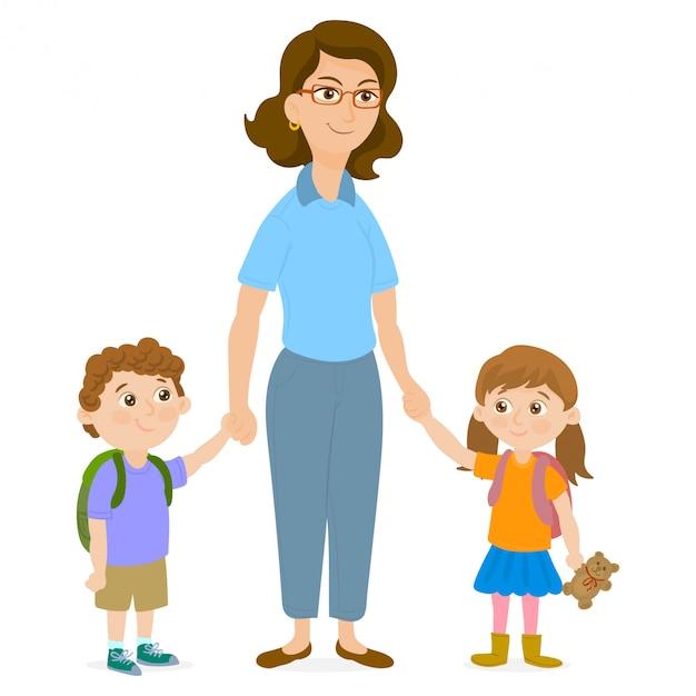 Moeder leidt haar kinderen naar school Premium Vector