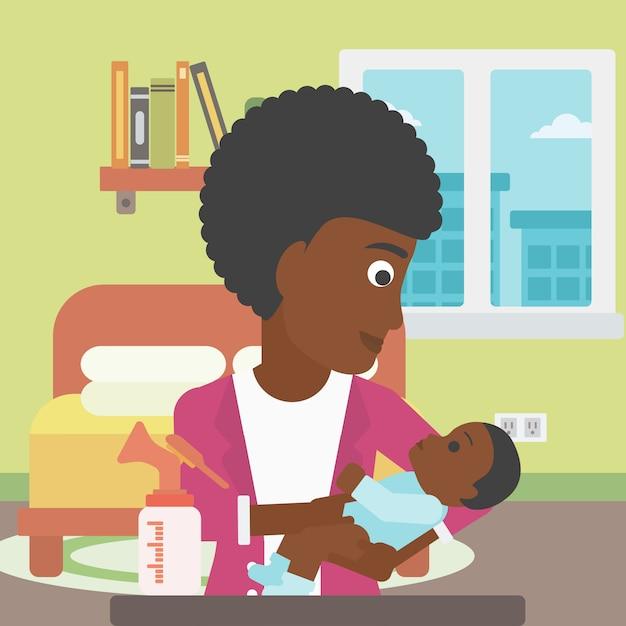 Moeder met baby- en borstpomp. Premium Vector