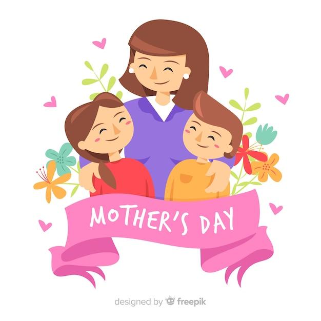 Moeder met haar kinderen moederdag achtergrond Gratis Vector
