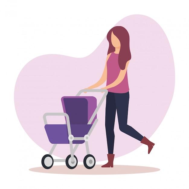 Moeder met kar baby karakter Gratis Vector