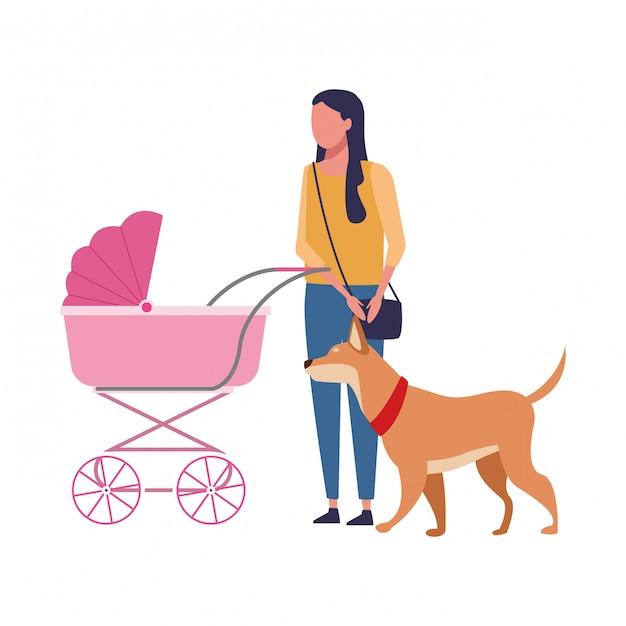 Moeder met kinderen Premium Vector