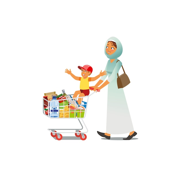 Moeder met little son cartoon vector winkelen Premium Vector