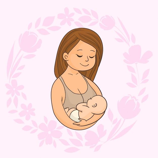 Moeder met pasgeboren baby in haar armen Premium Vector