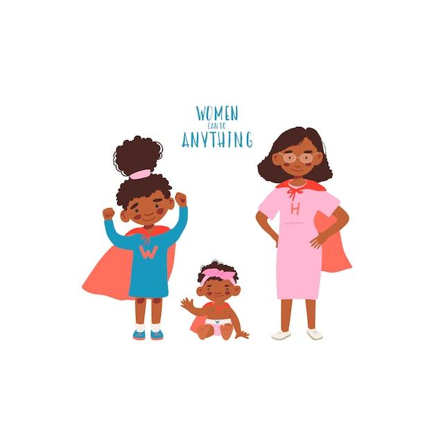 Moeder met twee dochters in superheldenkostuums Premium Vector
