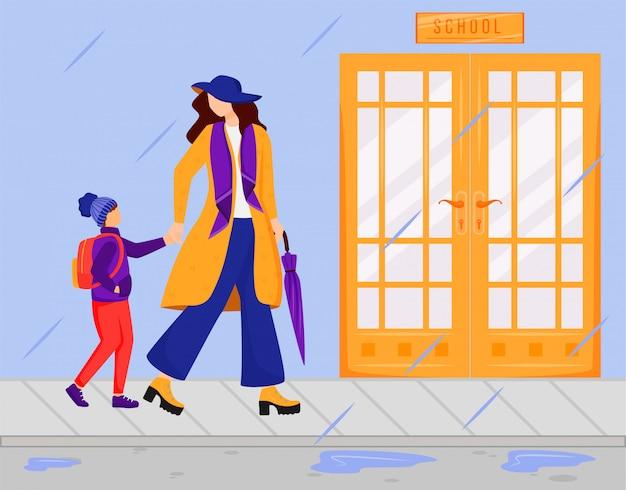 Moeder met zoon egale kleur vectorillustratie. regenachtige dag. nat weer. stijlvolle dame in jas, sjaal en muts. ouder met kind gaan naar school gezichtsloze stripfiguren Premium Vector