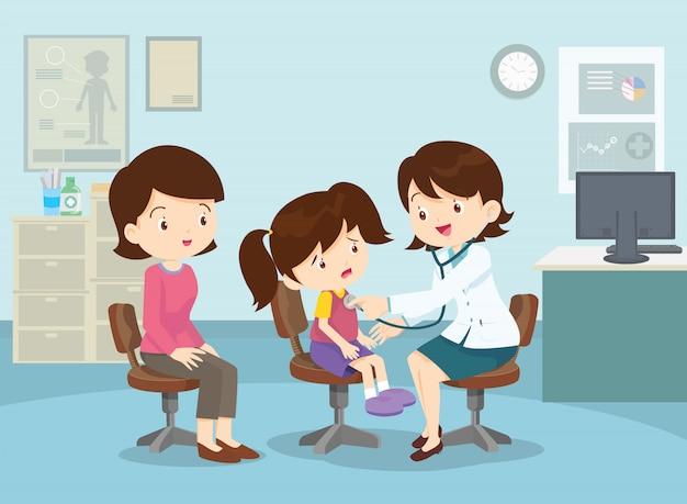 Moeder nam haar meisje mee naar de dokter Premium Vector