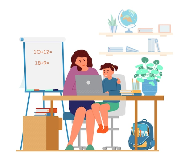 Moeder of tutor onderwijs meisje thuis Premium Vector