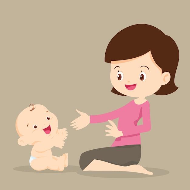 Moeder speelt met baby Premium Vector