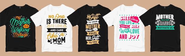 Moeder t-shirt ontwerpt bundel, moederdag citeert typografie grafische t-shirtcollectie Premium Vector