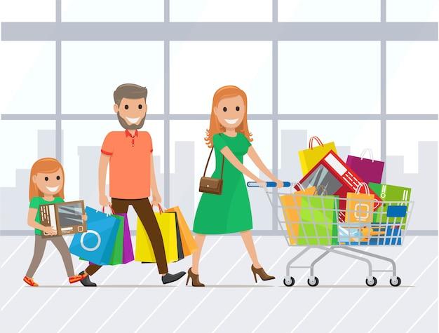 Moeder, vader en dochter samen winkelen Premium Vector