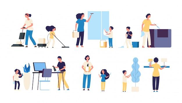 Moeder vader kinderen schoonmakers huishoudelijk werk stofzuigen Premium Vector