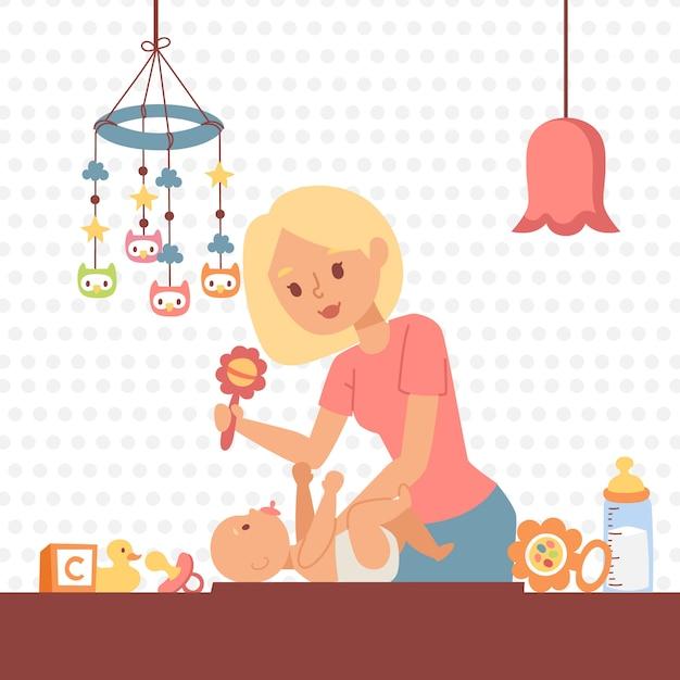 Moeder veranderende babyluier Premium Vector