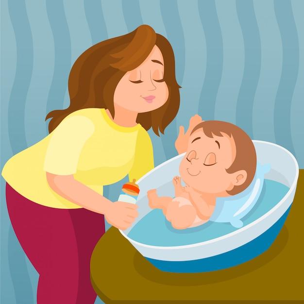 Moeder voedende baby met melk in fles Premium Vector