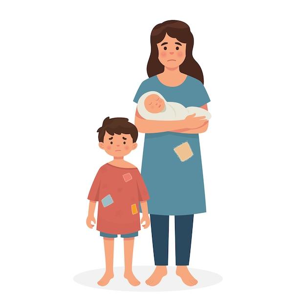Moeder, zoon en baby in slechte conditie Premium Vector
