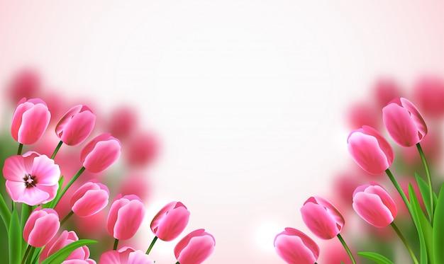 Moederdag gekleurde bloemensamenstelling met mooie roze tulpen op witte achtergrond Gratis Vector