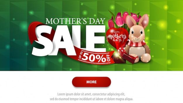 Moederdag groene verkoop korting banner met knop Premium Vector