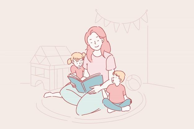 Moederdag, kleuterschool, moederschap concept. Premium Vector