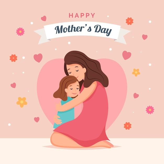 Moederdag met moeder en kind Gratis Vector