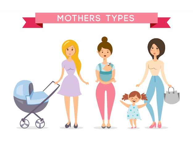 Moeders met babys. moeder liefde Gratis Vector